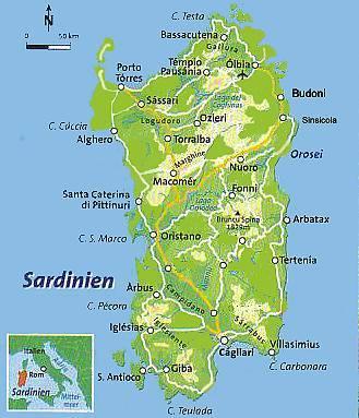 Karte Sardinien Strände.Sardinien Strand Meer Karte 3